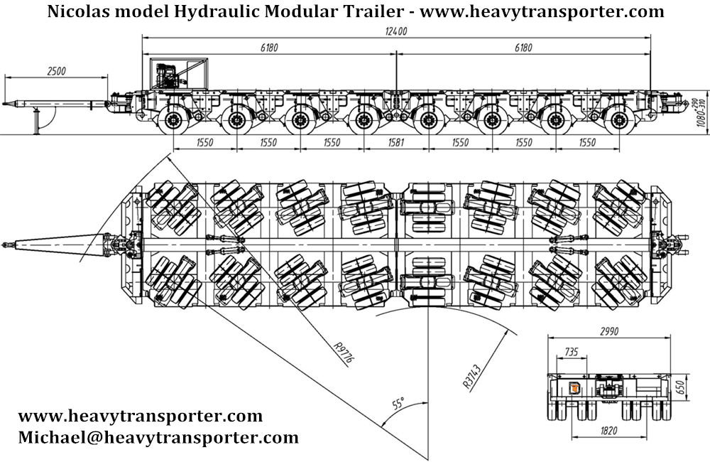 Nicolas model Hydraulic Modular Trailer - www.heavytransporter.com