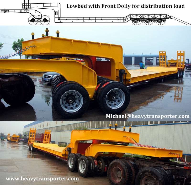 Lowbed with Front Dolly for distribution load - www.heavytransporter.com