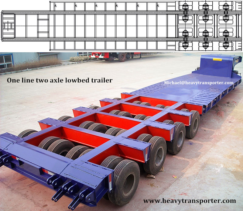 One line two axle lowbed trailer - www.heavytransporter.com