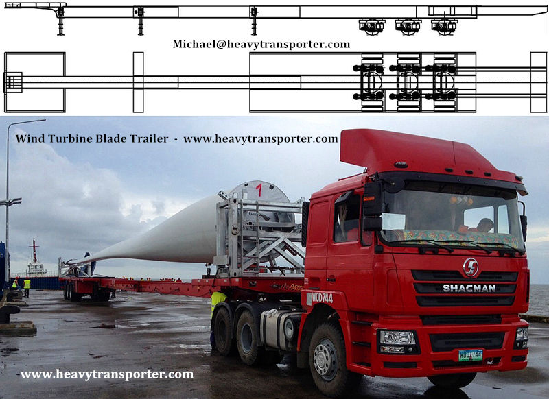 Wind Turbine Blade Trailer - www.heavytransporter.com