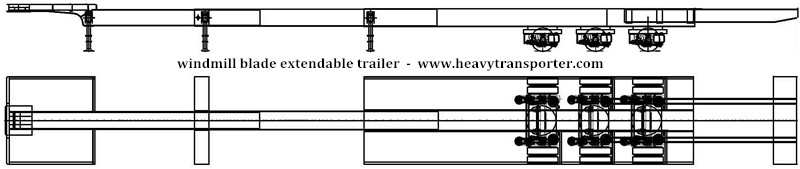 Windmill blade extendable trailer - www.heavytransporter.com